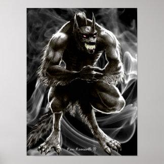 Impresión del hombre lobo póster