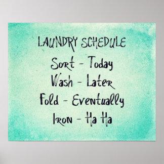 Impresión del horario del lavadero impresiones