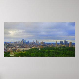 Impresión del horizonte de Kansas City Póster