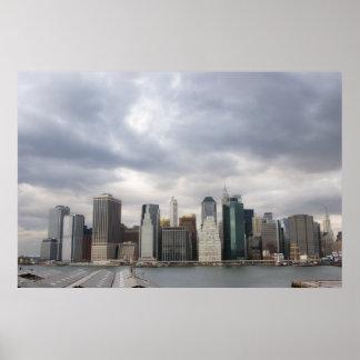Impresión del horizonte de Nueva York Póster