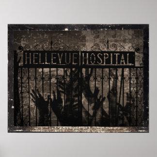 Impresión del hospital de Hellevue Póster