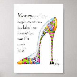 Impresión del humor del zapato que eleva póster