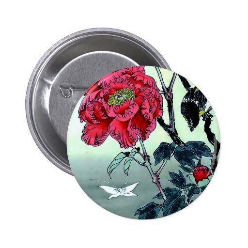 Impresión del japonés con la polilla del crisantem pin redondo 5 cm