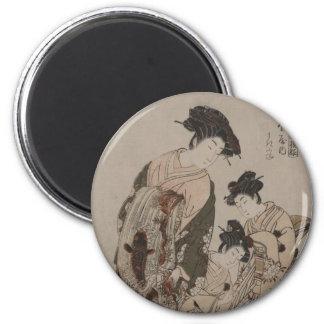 Impresión del japonés de Isoda Koryusai Imán De Frigorífico
