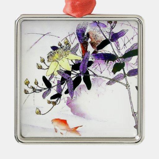 Impresión del japonés del martín pescador del adorno navideño cuadrado de metal