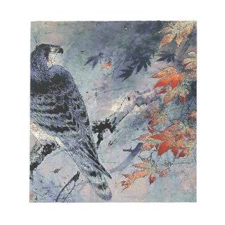 Impresión del japonés del pájaro del halcón bloc de papel
