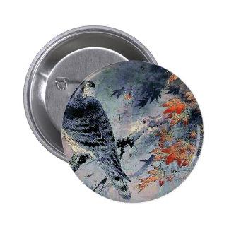 Impresión del japonés del pájaro del halcón pin redondo 5 cm