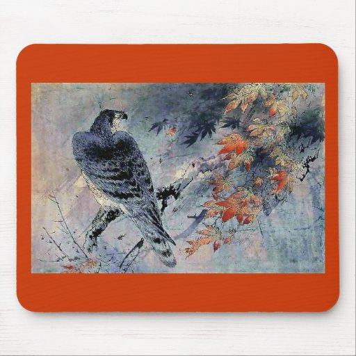 Impresión del japonés del pájaro del halcón alfombrillas de raton