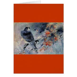 Impresión del japonés del pájaro del halcón tarjeta de felicitación