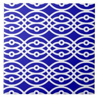 Impresión del kimono, azul de cobalto y blanco azulejos cerámicos