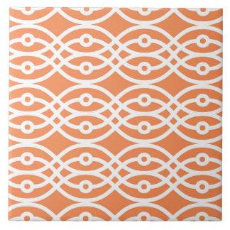 Impresión del kimono, naranja coralino y blanco azulejo