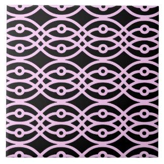 Impresión del kimono, negro y rosa del hielo teja