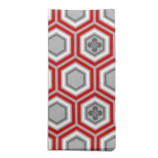 Impresión del kimono, rojo hexagonales y gris/gris servilleta