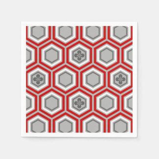 Impresión del kimono, rojo hexagonales y gris/gris servilletas de papel