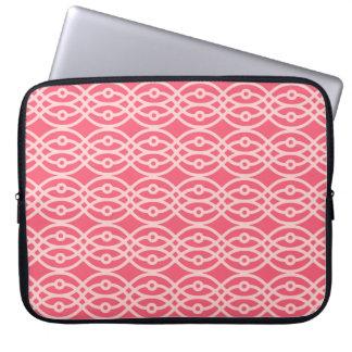Impresión del kimono, rosa coralino profundo funda computadora