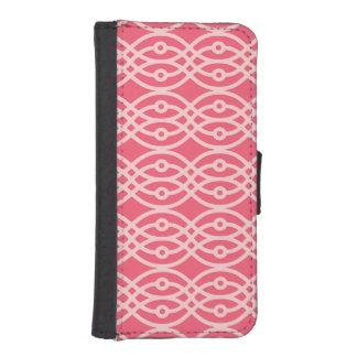 Impresión del kimono, rosa coralino profundo carteras para teléfono