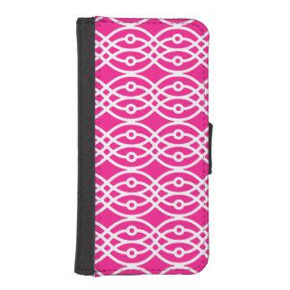 Impresión del kimono, rosado fucsia y blanco funda cartera para teléfono