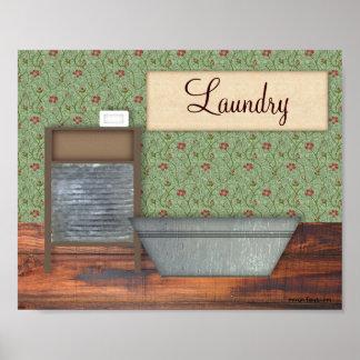 Impresión del lavadero del vintage posters