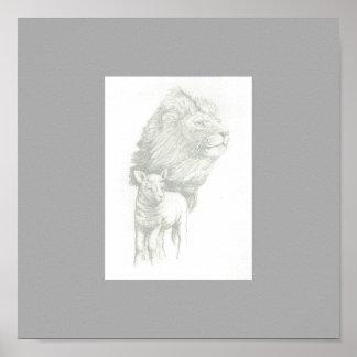 Impresión del león y del cordero poster