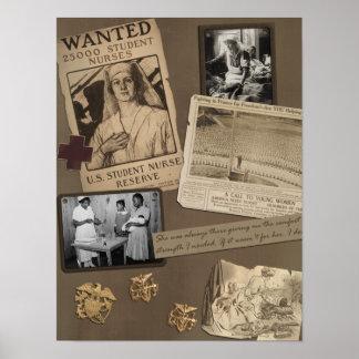 Impresión del libro de recuerdos de la enfermera d póster
