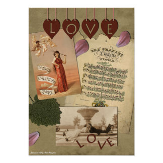 Impresión del libro de recuerdos del amor del vint póster