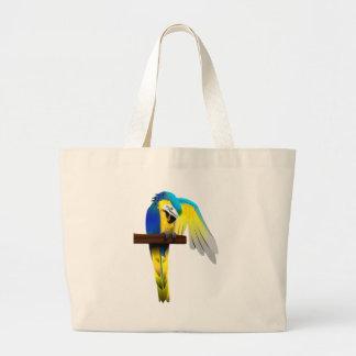 Impresión del loro del Macaw del azul y del oro Bolsa Tela Grande