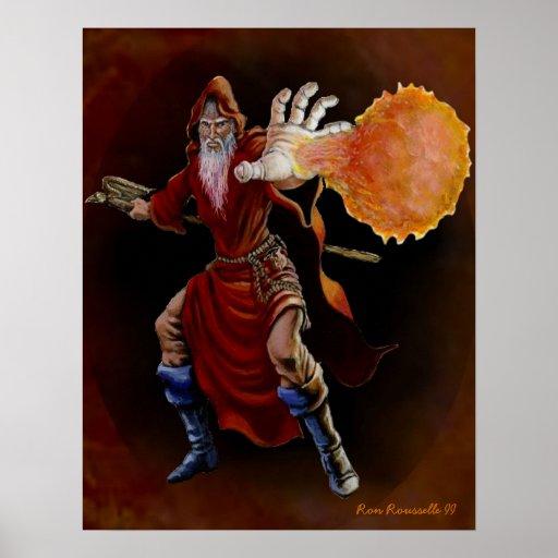 Impresión del mago de la bola de fuego póster