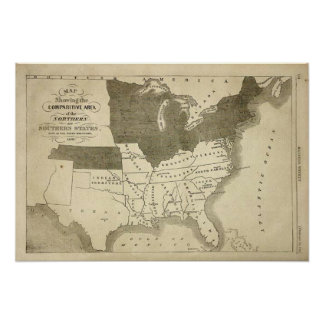 Impresión del mapa de los estados sureños 1861 impresiones