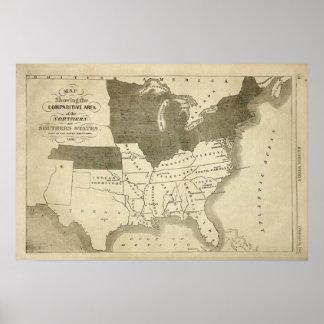 Impresión del mapa de los estados sureños 1861 póster