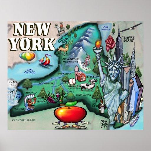IMPRESIÓN del mapa de Nueva York Póster