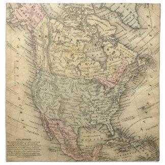 Impresión del mapa de Vintag de Norteamérica Servilletas Imprimidas