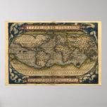 Impresión del mapa del atlas del mundo del vintage póster