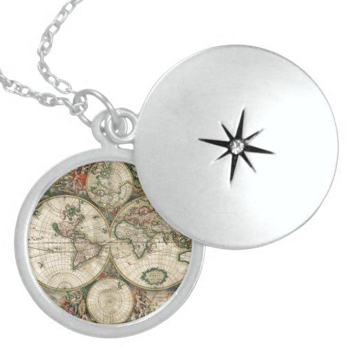 Impresión del mapa del mundo 1689 collar
