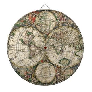 Impresión del mapa del mundo 1689 tabla dardos