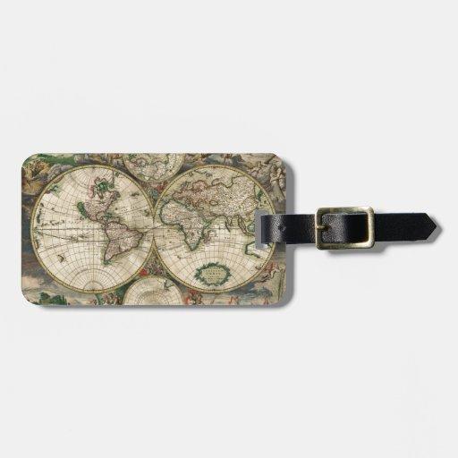 Impresión del mapa del mundo 1689 etiquetas para maletas