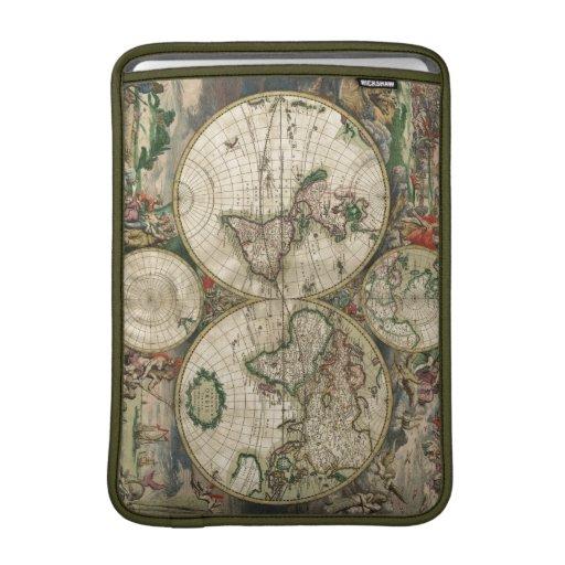 Impresión del mapa del mundo 1689 fundas macbook air