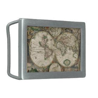 Impresión del mapa del mundo 1689 hebillas cinturon