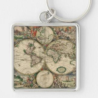 Impresión del mapa del mundo 1689 llavero cuadrado plateado