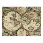 Impresión del mapa del mundo 1689 postal