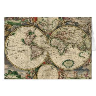 Impresión del mapa del mundo 1689 tarjeta de felicitación