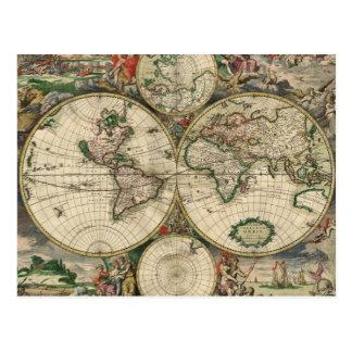 Impresión del mapa del mundo 1689 tarjetas postales