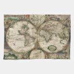 Impresión del mapa del mundo 1689 toallas