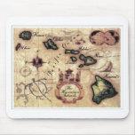 Impresión del mapa del vintage de las islas hawaia alfombrillas de ratón
