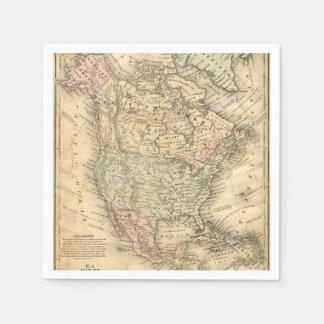 Impresión del mapa del vintage de Norteamérica Servilletas De Papel