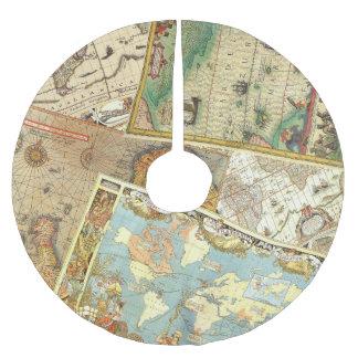 Impresión del mapa del vintage falda para arbol de navidad de poliéster