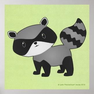 Impresión del mapache del bebé posters