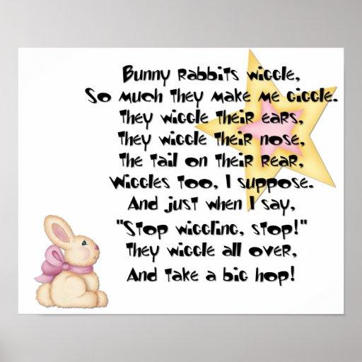 Impresión del meneo de los conejos de conejito poster