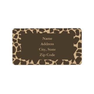 Impresión del modelo de la jirafa de Brown Etiqueta De Dirección