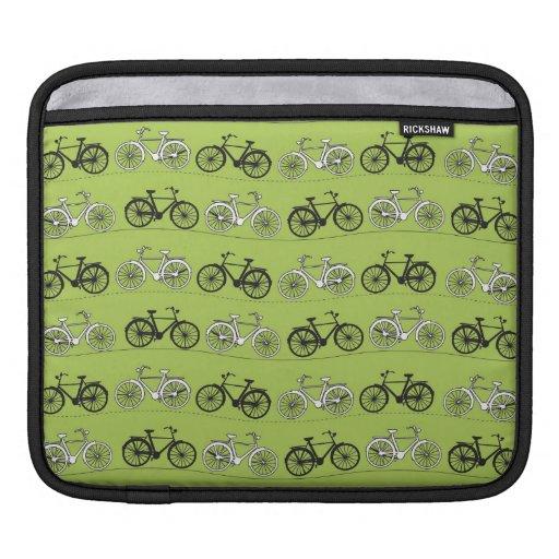 Impresión del modelo de las bicicletas del verde d fundas para iPads