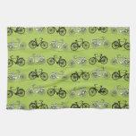 Impresión del modelo de las bicicletas del verde d toallas de mano